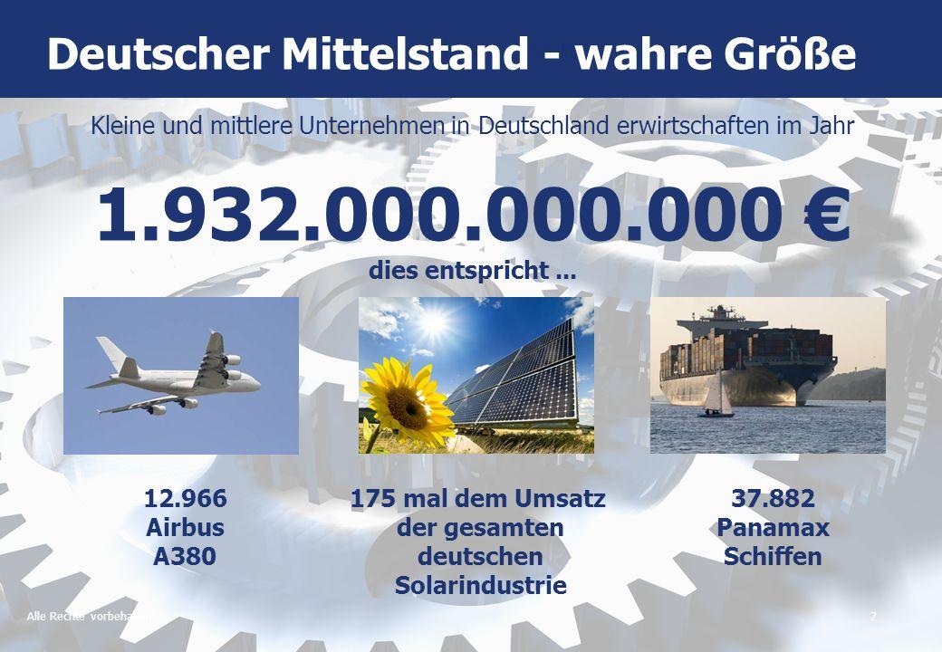 Alle Rechte vorbehalten3 Kleine und mittlere Unternehmen in Deutschland beschäftigen 21.150.000 Menschen Die gesamte deutsche Automobilindustrie beschäftigt 755.000 Menschen Deutscher Mittelstand - wahre Größe