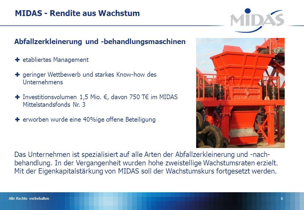 Alle Rechte vorbehalten6 MIDAS - Rendite aus Wachstum Das Unternehmen ist spezialisiert auf alle Arten der Abfallzerkleinerung und -nach- behandlung.