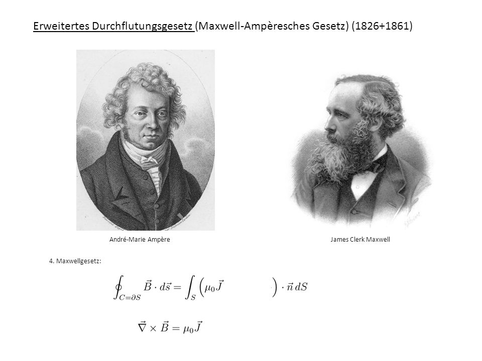 Erweitertes Durchflutungsgesetz (Maxwell-Ampèresches Gesetz) (1826+1861) André-Marie Ampère James Clerk Maxwell 4. Maxwellgesetz: