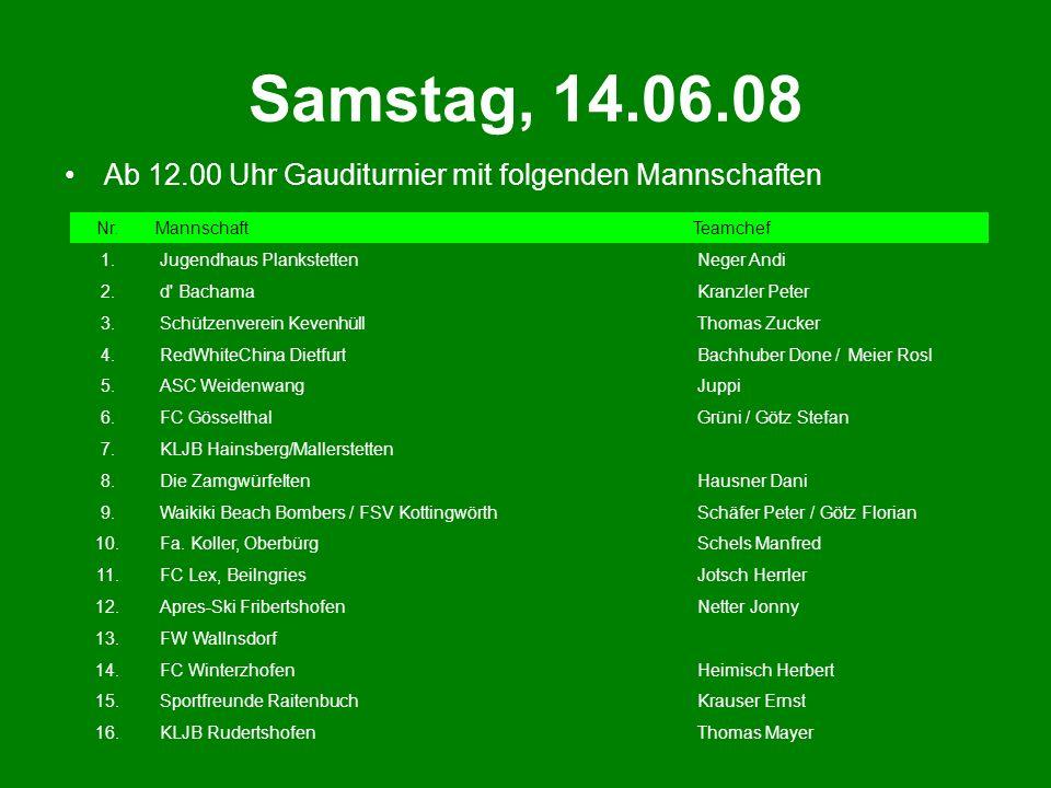 Samstag, 14.06.08 Ab 12.00 Uhr Gauditurnier mit folgenden Mannschaften Nr.MannschaftTeamchef 1. Jugendhaus Plankstetten Neger Andi 2. d' Bachama Kranz