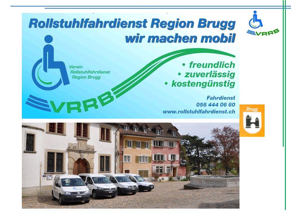 Unser Ziel: Mobilität für rollstuhlabhängige Mitmenschen Rollstuhlfahrdienst Region Brugg Zum Beispiel: Zur Therapie, zum Arzt, zur Schule, Arbeit, SBB Brugg oder zur Vergnügungsfahrt, und zu Ferien (Auch über grössere Distanzen) …usw.….