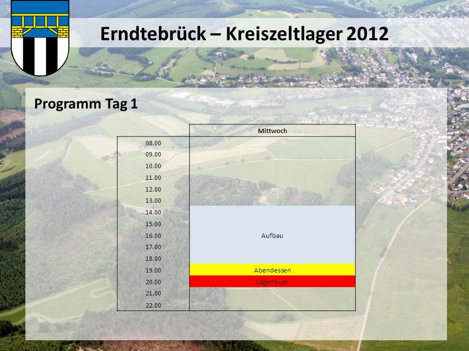 Erndtebrück – Kreiszeltlager 2012 Programm Tag 2 Donnerstag 08.00Frühstück 09.00Filzen (1.Gruppe 10-13 Jahre ca.