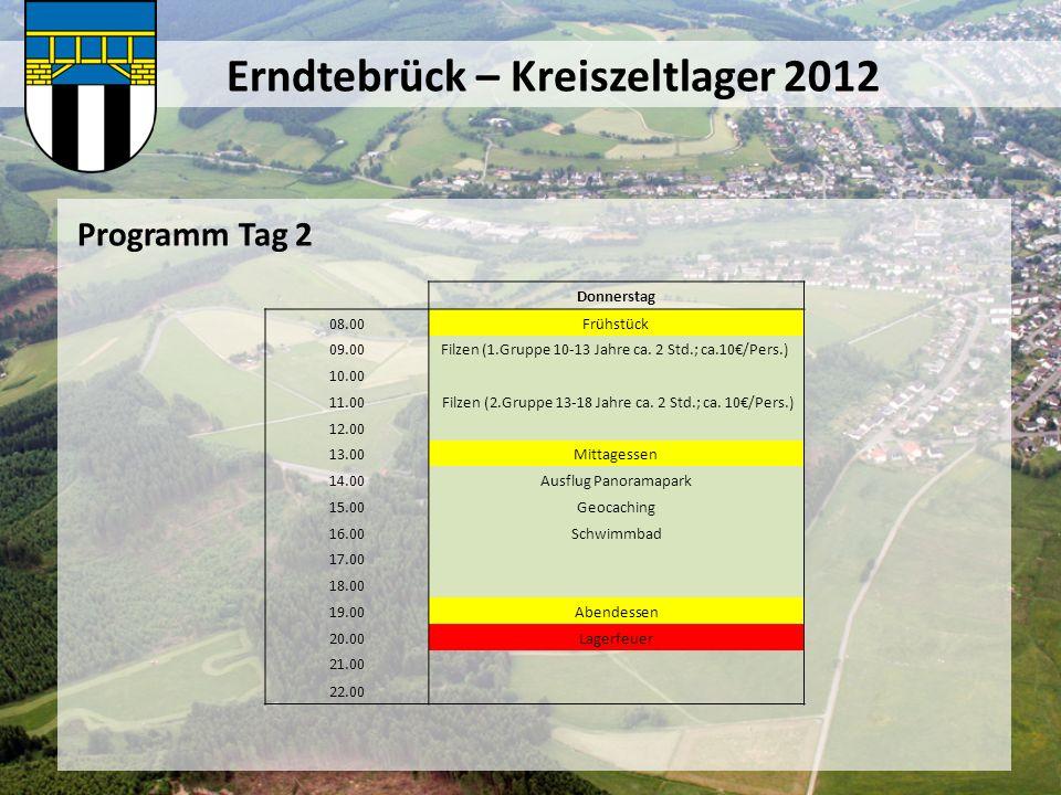 Erndtebrück – Kreiszeltlager 2012 Programm Tag 3 Freitag 08.00Frühstück 09.00 10.00 11.00 12.00 13.00Mittagessen 14.00Ausflug Panoramapark 15.00Schwimmbad 16.00Fußball / Volleyball 17.00 18.00 19.00Abendessen 20.00Lagerfeuer 21.00 22.00