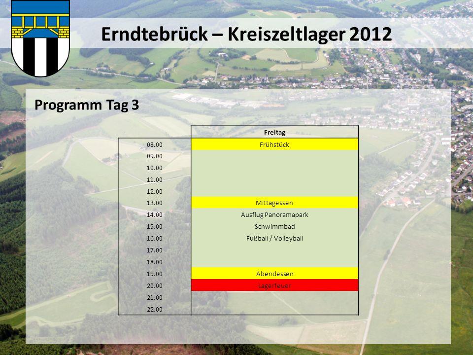 Erndtebrück – Kreiszeltlager 2012 Programm Tag 3 Freitag 08.00Frühstück 09.00 10.00 11.00 12.00 13.00Mittagessen 14.00Ausflug Panoramapark 15.00Schwim