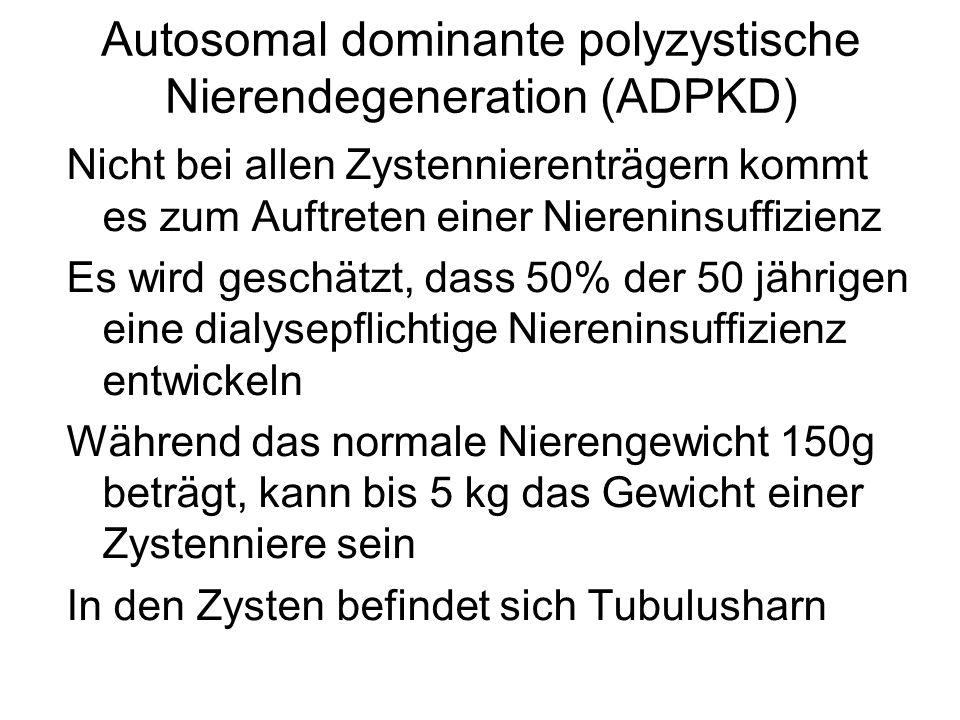 Autosomal dominante polyzystische Nierendegeneration (ADPKD) Nicht bei allen Zystennierenträgern kommt es zum Auftreten einer Niereninsuffizienz Es wi