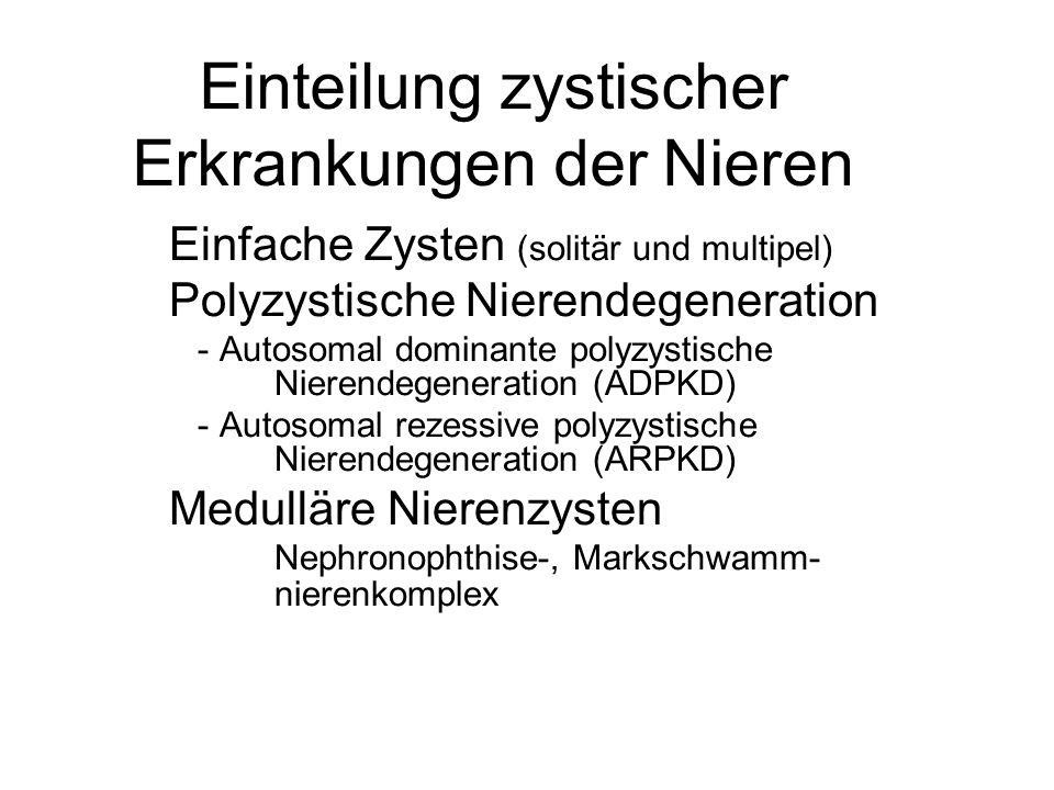 Einteilung zystischer Erkrankungen der Nieren Zystische Nierenerkrankungen im Rahmen von Syndromen Nierendysplasie Verlust der Nierenform, zusätzliche Fehl- bildung, wie Harnleiteratresie häufig Erworbene Zysten renale Erkrankungen, wie Nephrosklerose oder Analgetika-Nephropathie führen zur multizystischen Umwandlung