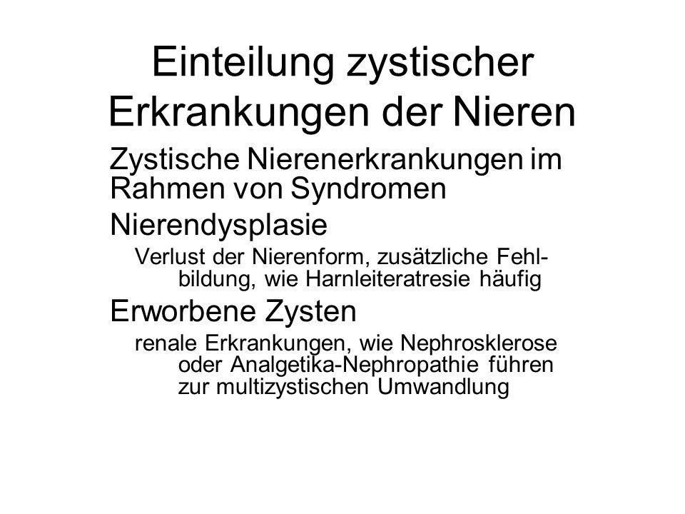 Einteilung zystischer Erkrankungen der Nieren Zystische Nierenerkrankungen im Rahmen von Syndromen Nierendysplasie Verlust der Nierenform, zusätzliche