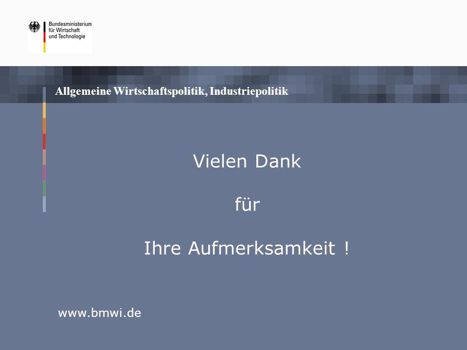 Allgemeine Wirtschaftspolitik, Industriepolitik www.bmwi.de Vielen Dank für Ihre Aufmerksamkeit !