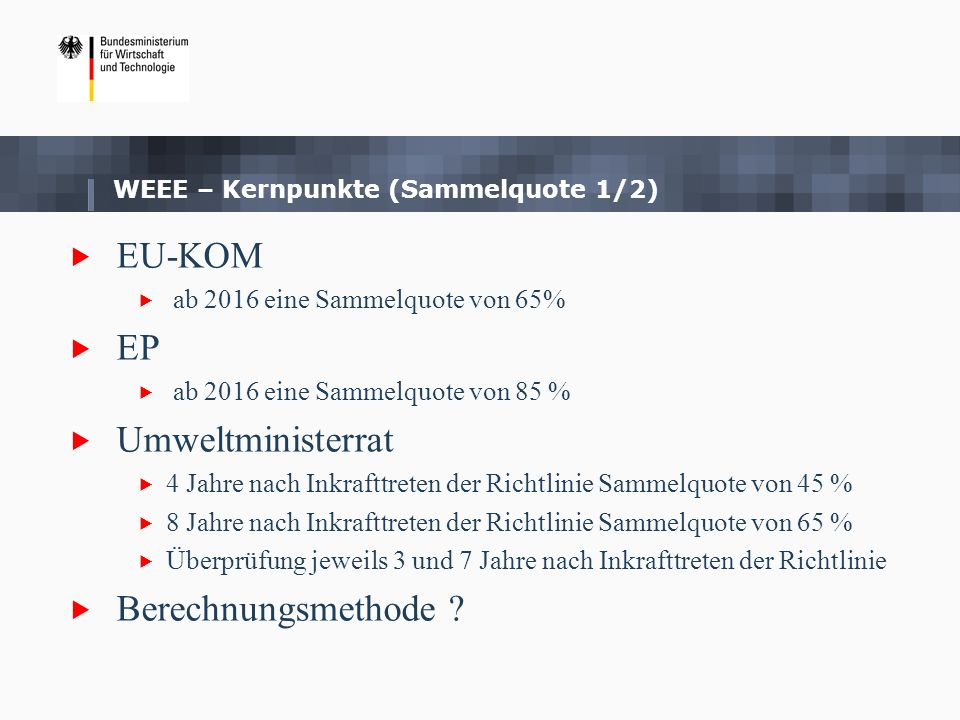 Kompromissvorschlag Ratspräsidentschaft: 4 Jahre nach Inkrafttreten der Richtlinie Sammelquote von 45 % 7 Jahre nach Inkrafttreten der Richtlinie Sammelquote von 65 % Überprüfung der Sammelquote jeweils 3 und 7 Jahre nach Inkrafttreten der Richtlinie, wobei zweite Überprüfungsklausel auf eine Erhöhung der Sammelquote abzielen soll Überprüfung der Berechnungsmethode 6 Jahre nach Inkrafttreten der Richtlinie mit Blick auf WEEE-generated WEEE – Kernpunkte (Sammelquote 2/2)