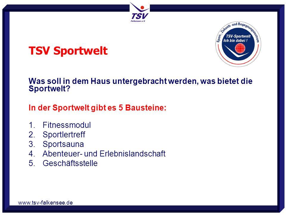 www.tsv-falkensee.de Was soll in dem Haus untergebracht werden, was bietet die Sportwelt? In der Sportwelt gibt es 5 Bausteine: 1. Fitnessmodul 2. Spo