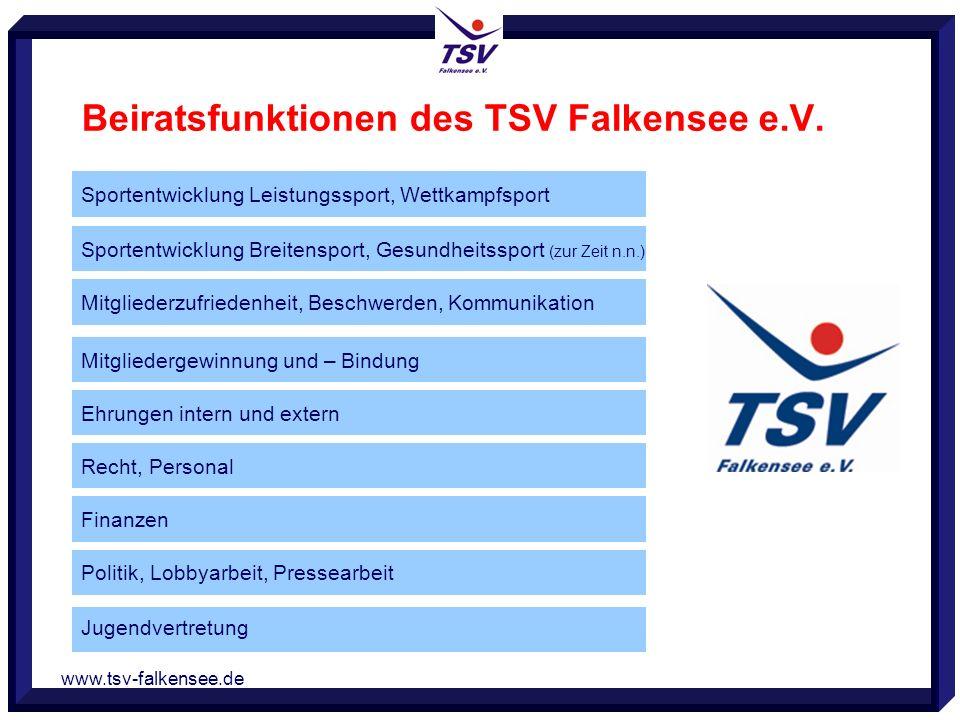 www.tsv-falkensee.de Beiratsfunktionen des TSV Falkensee e.V. Sportentwicklung Leistungssport, Wettkampfsport Sportentwicklung Breitensport, Gesundhei
