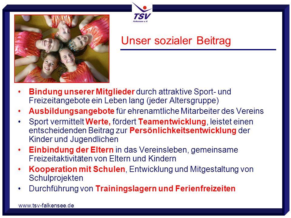 www.tsv-falkensee.de Unser sozialer Beitrag Bindung unserer Mitglieder durch attraktive Sport- und Freizeitangebote ein Leben lang (jeder Altersgruppe
