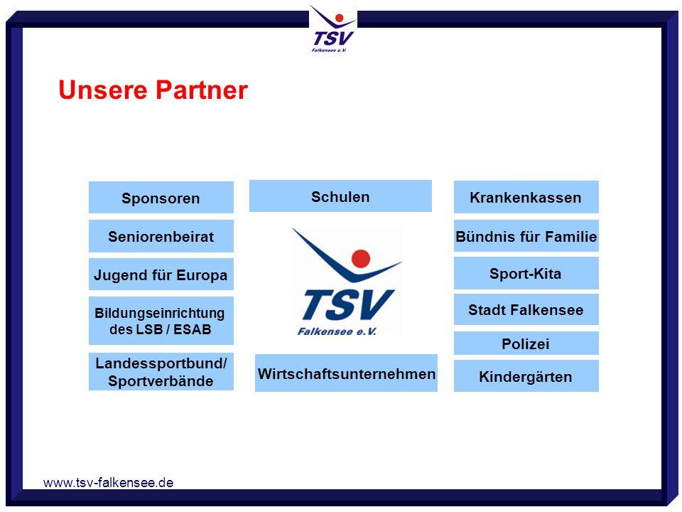 www.tsv-falkensee.de Unsere Partner Sponsoren Seniorenbeirat Jugend für Europa Bildungseinrichtung des LSB / ESAB Landessportbund/ Sportverbände Schul