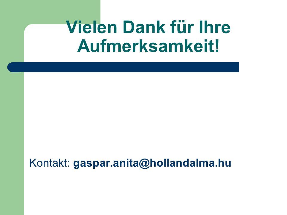 Vielen Dank für Ihre Aufmerksamkeit! Kontakt: gaspar.anita@hollandalma.hu