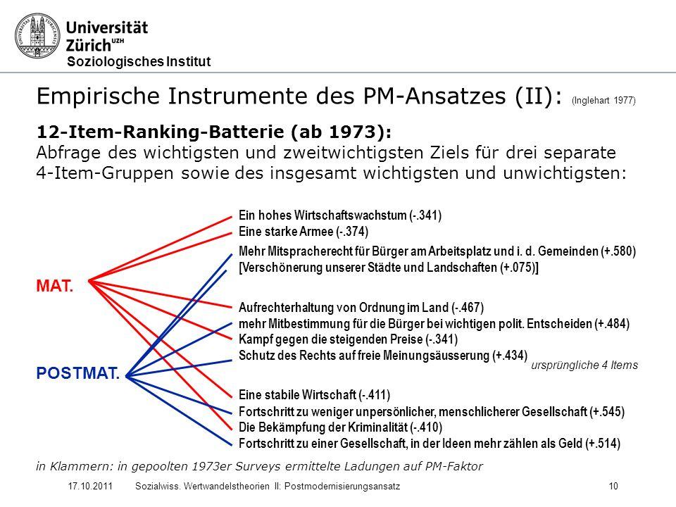 Soziologisches Institut 17.10.2011Sozialwiss. Wertwandelstheorien II: Postmodernisierungsansatz10 Empirische Instrumente des PM-Ansatzes (II): (Ingleh