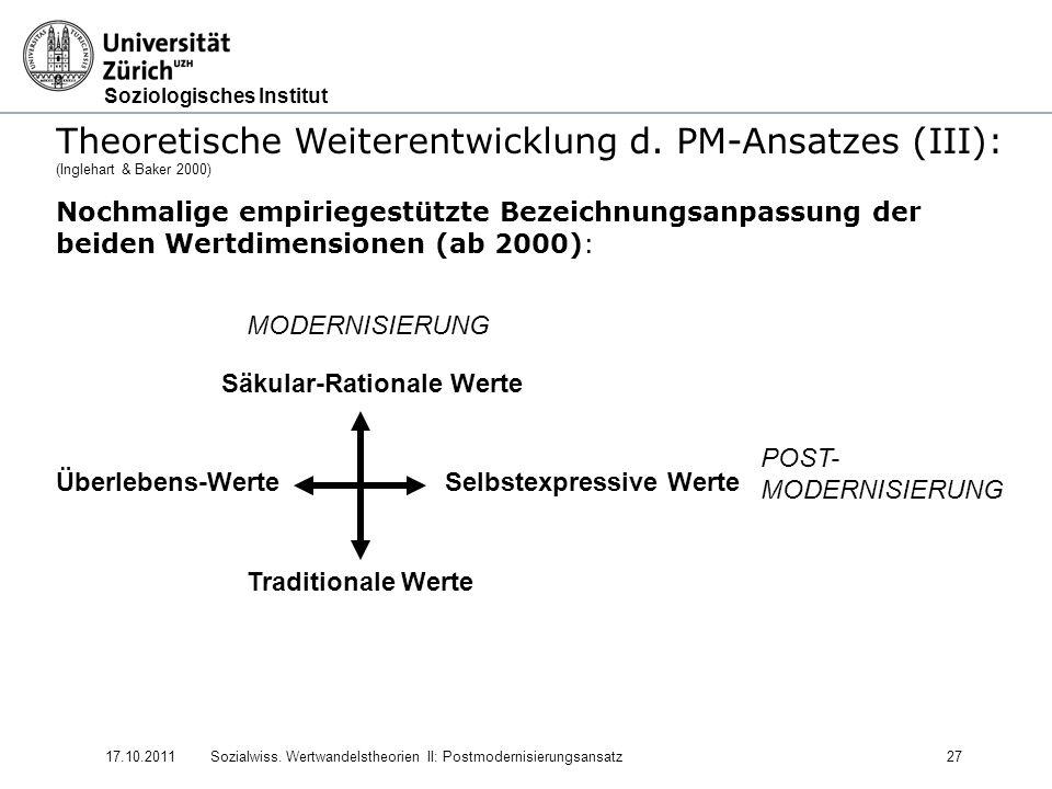 Soziologisches Institut 17.10.2011Sozialwiss. Wertwandelstheorien II: Postmodernisierungsansatz27 Theoretische Weiterentwicklung d. PM-Ansatzes (III):