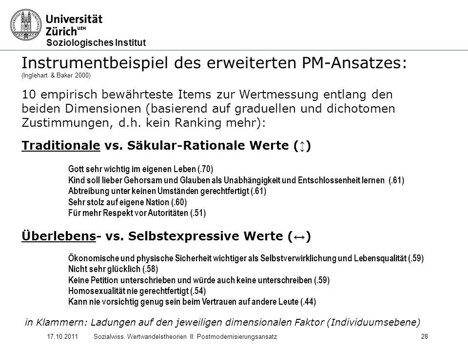 Soziologisches Institut 17.10.2011Sozialwiss. Wertwandelstheorien II: Postmodernisierungsansatz28 Instrumentbeispiel des erweiterten PM-Ansatzes: (Ing