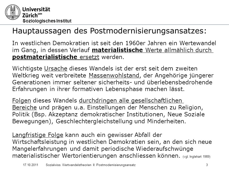 Soziologisches Institut 17.10.2011Sozialwiss.