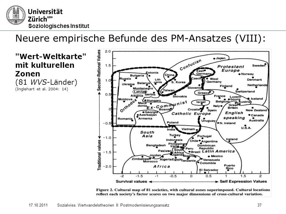Soziologisches Institut 17.10.2011Sozialwiss. Wertwandelstheorien II: Postmodernisierungsansatz37 Neuere empirische Befunde des PM-Ansatzes (VIII):