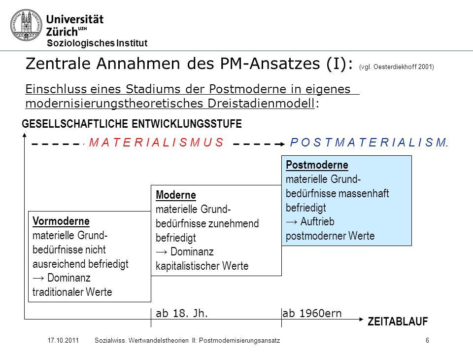 Soziologisches Institut 17.10.2011Sozialwiss. Wertwandelstheorien II: Postmodernisierungsansatz6 Zentrale Annahmen des PM-Ansatzes (I): (vgl. Oesterdi