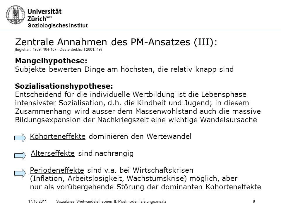 Soziologisches Institut 17.10.2011Sozialwiss. Wertwandelstheorien II: Postmodernisierungsansatz8 Zentrale Annahmen des PM-Ansatzes (III): (Inglehart 1
