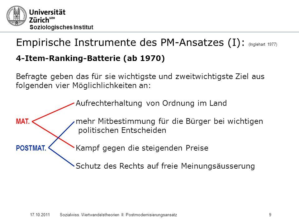 Soziologisches Institut 17.10.2011Sozialwiss. Wertwandelstheorien II: Postmodernisierungsansatz9 Empirische Instrumente des PM-Ansatzes (I): (Inglehar