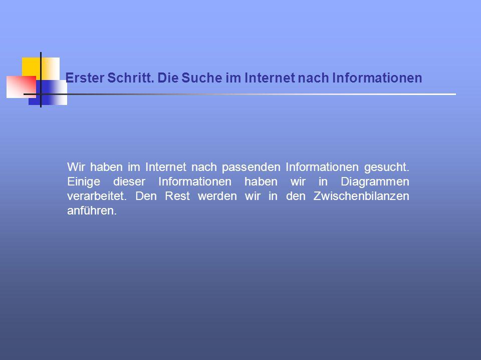 Erster Schritt. Die Suche im Internet nach Informationen Wir haben im Internet nach passenden Informationen gesucht. Einige dieser Informationen haben