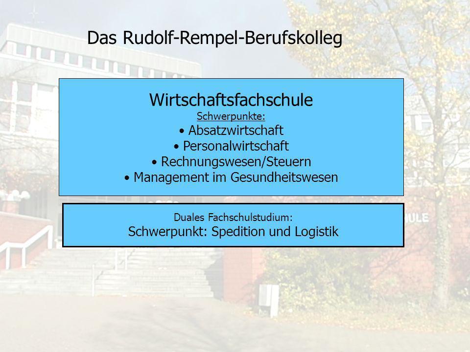 Das Rudolf-Rempel-Berufskolleg Dieser Bildungsgang bietet eine Doppelqualifizierung: Kauffrau/Kaufmann für Spedition und Logistikdienstleistung und Staatlich geprüfter/e Betriebswirt/in im Schwerpunkt Spedition und Logistik.