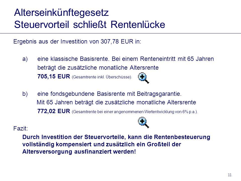 11 Alterseinkünftegesetz Steuervorteil schließt Rentenlücke Ergebnis aus der Investition von 307,78 EUR in: a)eine klassische Basisrente. Bei einem Re