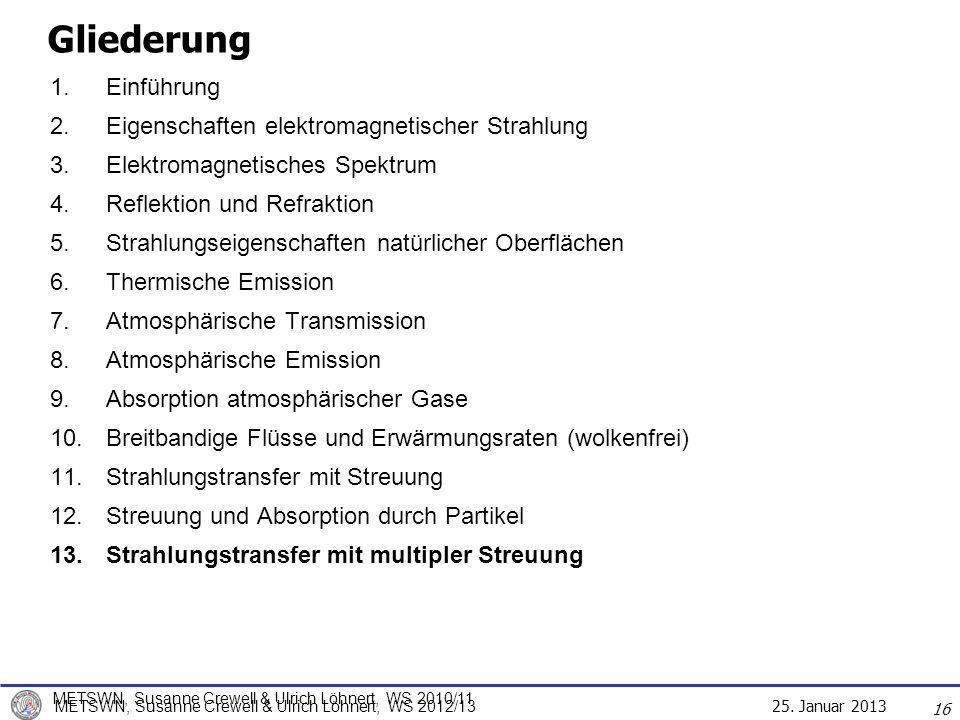 25. Januar 2013 METSWN, Susanne Crewell & Ulrich Löhnert, WS 2012/13 16 Gliederung 1.Einführung 2.Eigenschaften elektromagnetischer Strahlung 3.Elektr
