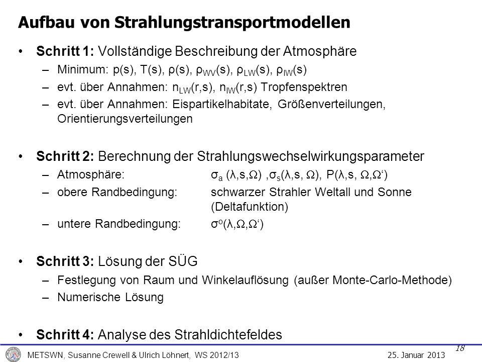 25. Januar 2013 METSWN, Susanne Crewell & Ulrich Löhnert, WS 2012/13 Aufbau von Strahlungstransportmodellen Schritt 1: Vollständige Beschreibung der A