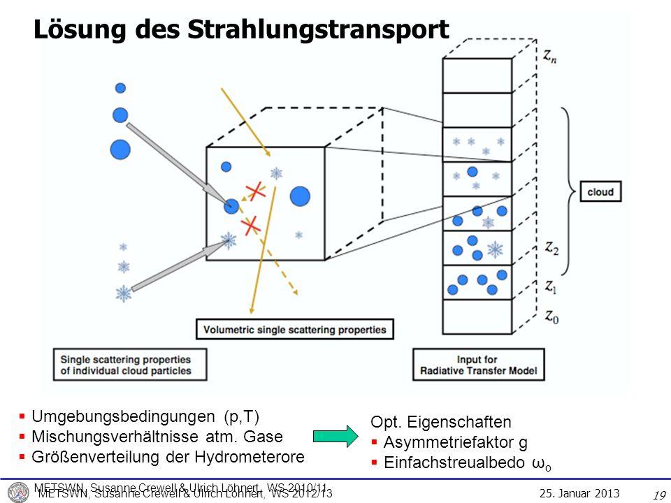 25. Januar 2013 METSWN, Susanne Crewell & Ulrich Löhnert, WS 2012/13 Lösung des Strahlungstransport 19 Umgebungsbedingungen (p,T) Mischungsverhältniss