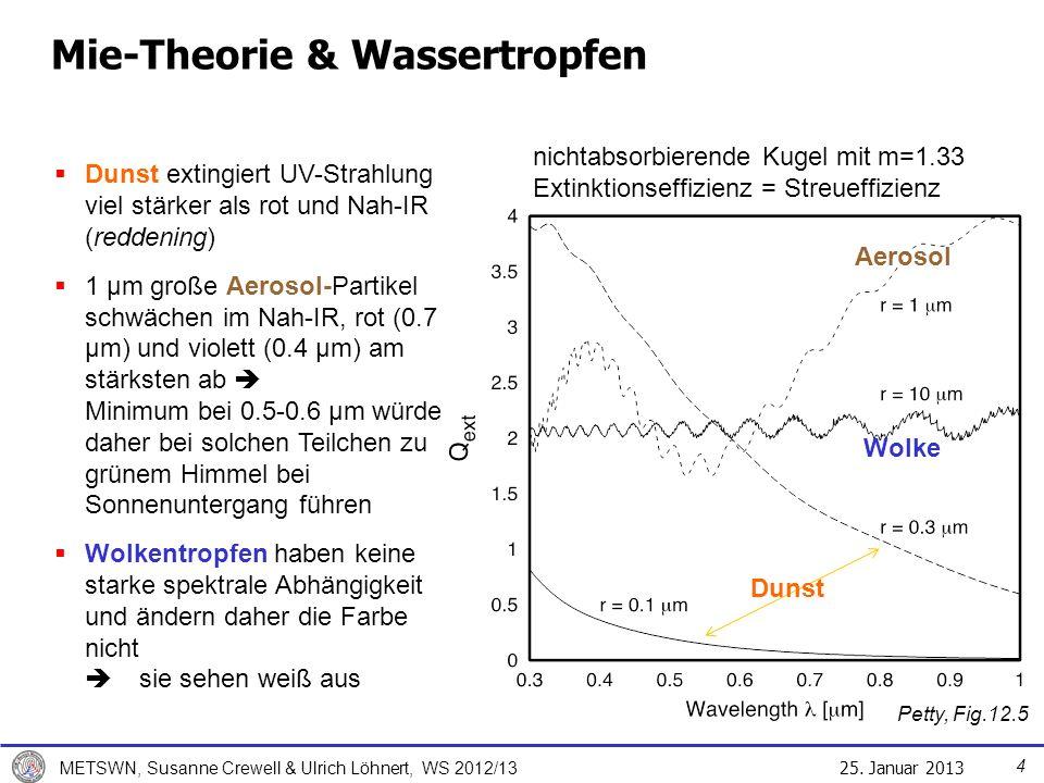 25. Januar 2013 METSWN, Susanne Crewell & Ulrich Löhnert, WS 2012/13 Petty, Fig.12.5 Mie-Theorie & Wassertropfen Dunst Dunst extingiert UV-Strahlung v