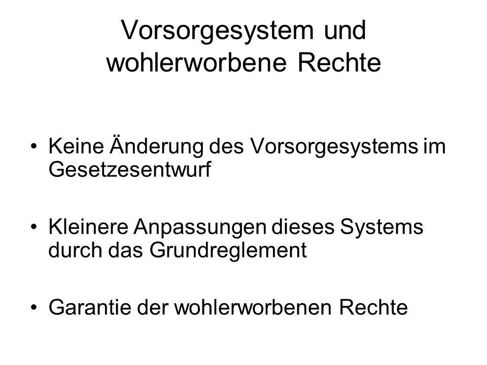 Vorsorgesystem und wohlerworbene Rechte Keine Änderung des Vorsorgesystems im Gesetzesentwurf Kleinere Anpassungen dieses Systems durch das Grundregle