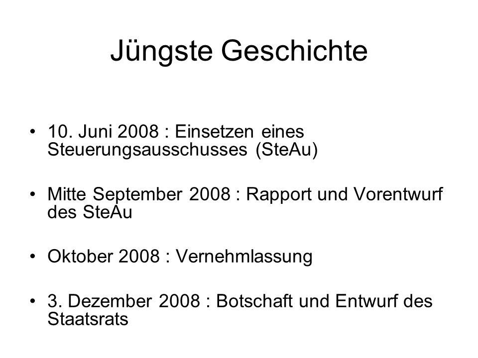Jüngste Geschichte 10. Juni 2008 : Einsetzen eines Steuerungsausschusses (SteAu) Mitte September 2008 : Rapport und Vorentwurf des SteAu Oktober 2008
