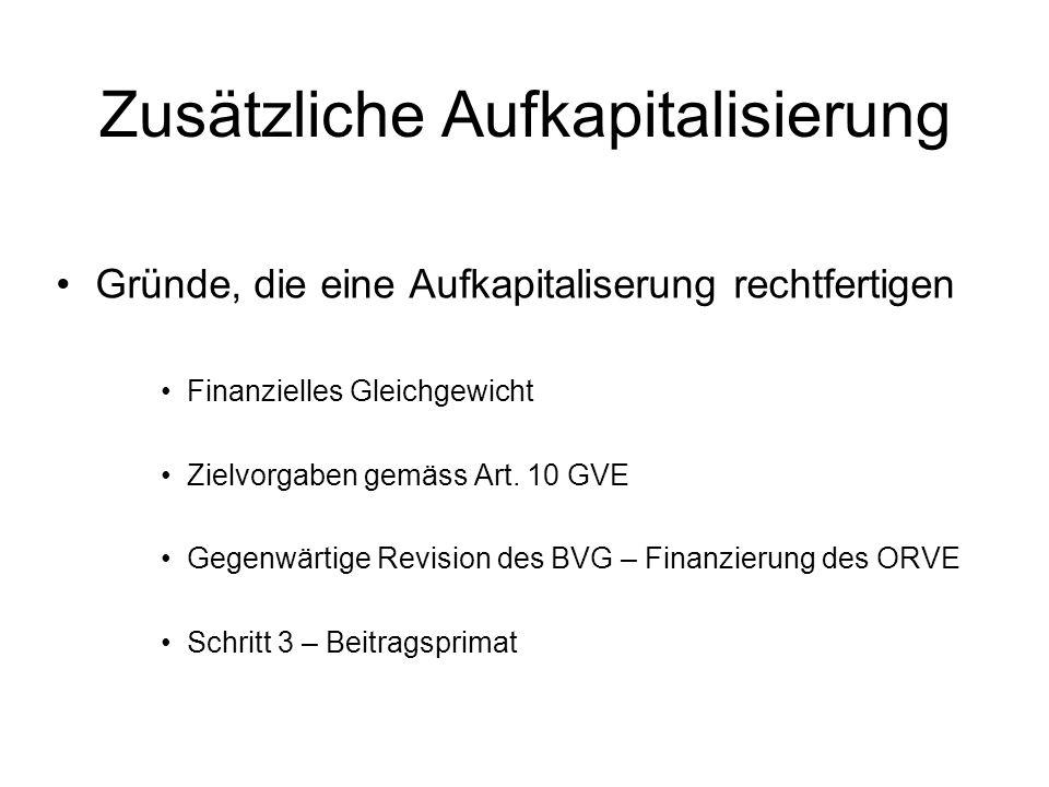 Zusätzliche Aufkapitalisierung Gründe, die eine Aufkapitaliserung rechtfertigen Finanzielles Gleichgewicht Zielvorgaben gemäss Art. 10 GVE Gegenwärtig