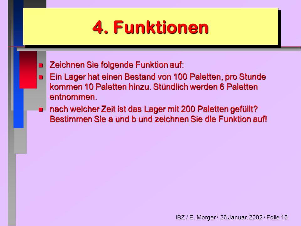 IBZ / E. Morger / 26 Januar, 2002 / Folie 16 n Zeichnen Sie folgende Funktion auf: n Ein Lager hat einen Bestand von 100 Paletten, pro Stunde kommen 1