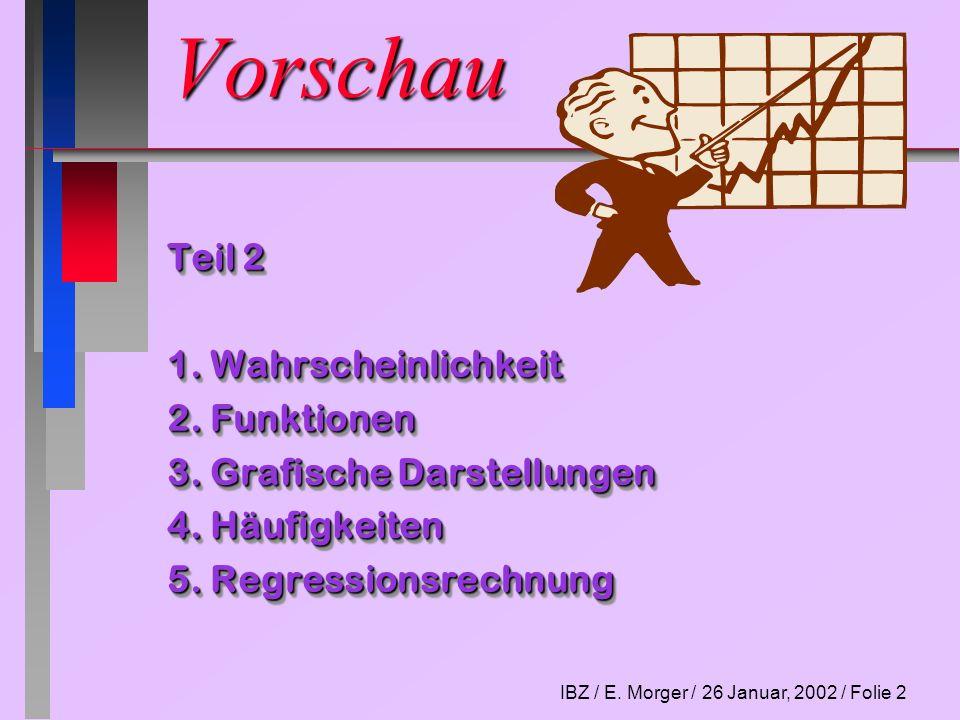 IBZ / E. Morger / 26 Januar, 2002 / Folie 2 Vorschau Teil 2 1. Wahrscheinlichkeit 2. Funktionen 3. Grafische Darstellungen 4. Häufigkeiten 5. Regressi