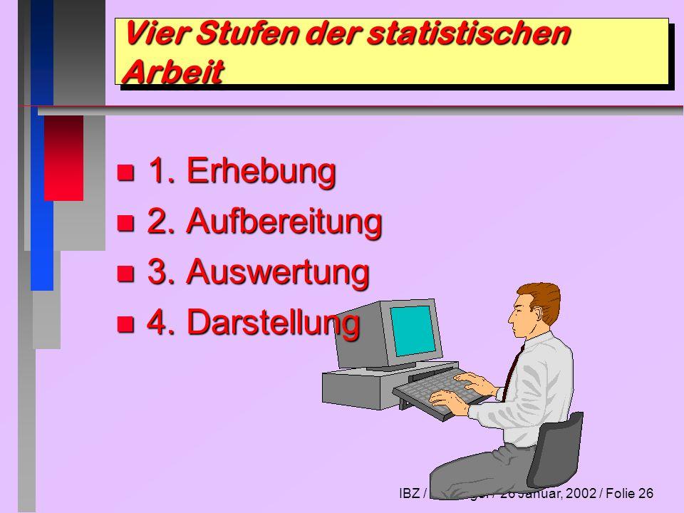 IBZ / E. Morger / 26 Januar, 2002 / Folie 26 Vier Stufen der statistischen Arbeit n 1. Erhebung n 2. Aufbereitung n 3. Auswertung n 4. Darstellung