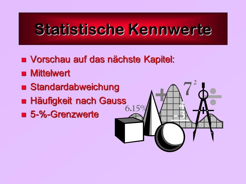 n Vorschau auf das nächste Kapitel: n Mittelwert n Standardabweichung n Häufigkeit nach Gauss n 5-%-Grenzwerte Statistische Kennwerte