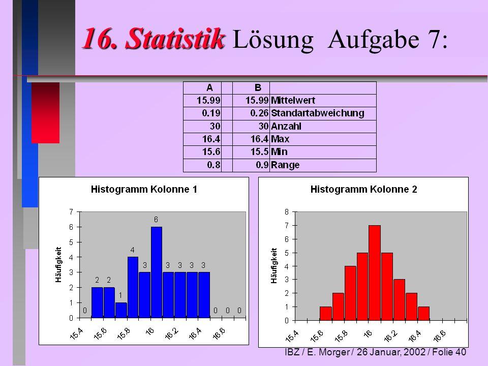IBZ / E. Morger / 26 Januar, 2002 / Folie 40 16. Statistik 16. Statistik Lösung Aufgabe 7: