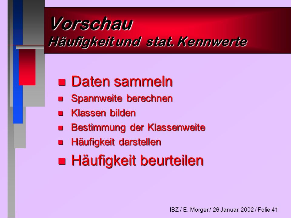 IBZ / E. Morger / 26 Januar, 2002 / Folie 41 Vorschau Häufigkeit und stat. Kennwerte n Daten sammeln n Spannweite berechnen n Klassen bilden n Bestimm