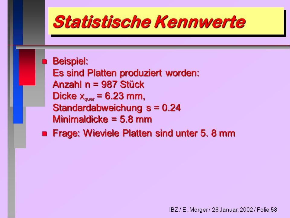 IBZ / E. Morger / 26 Januar, 2002 / Folie 58 Statistische Kennwerte n Beispiel: Es sind Platten produziert worden: Anzahl n = 987 Stück Dicke X quer =