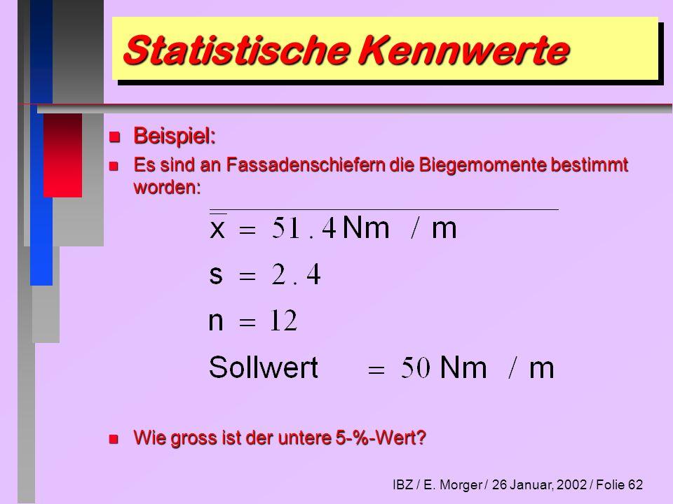 IBZ / E. Morger / 26 Januar, 2002 / Folie 62 Statistische Kennwerte n Beispiel: n Es sind an Fassadenschiefern die Biegemomente bestimmt worden: n Wie