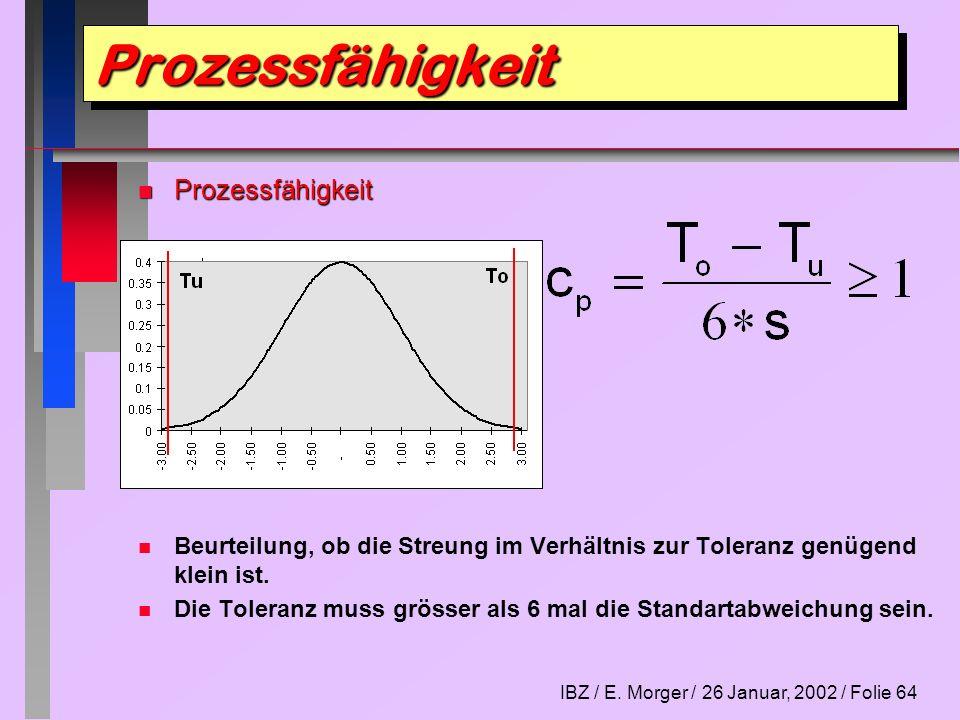 IBZ / E. Morger / 26 Januar, 2002 / Folie 64 n Prozessfähigkeit n n Beurteilung, ob die Streung im Verhältnis zur Toleranz genügend klein ist. n n Die