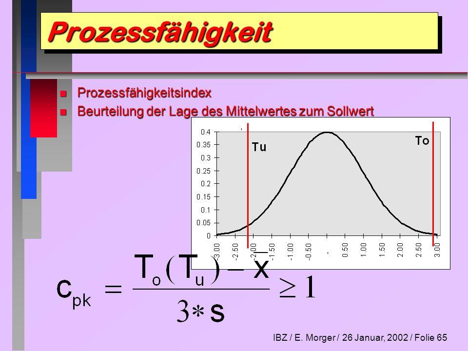 IBZ / E. Morger / 26 Januar, 2002 / Folie 65 n Prozessfähigkeitsindex n Beurteilung der Lage des Mittelwertes zum Sollwert ProzessfähigkeitProzessfähi