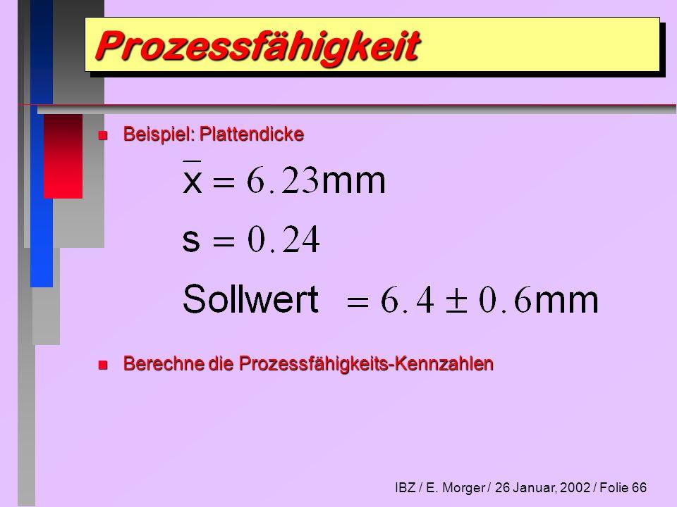 IBZ / E. Morger / 26 Januar, 2002 / Folie 66 n Beispiel: Plattendicke n Berechne die Prozessfähigkeits-Kennzahlen ProzessfähigkeitProzessfähigkeit