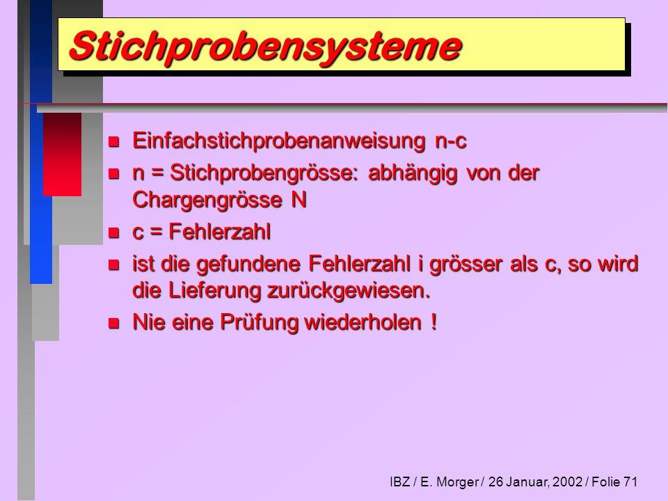 IBZ / E. Morger / 26 Januar, 2002 / Folie 71 n Einfachstichprobenanweisung n-c n n = Stichprobengrösse: abhängig von der Chargengrösse N n c = Fehlerz