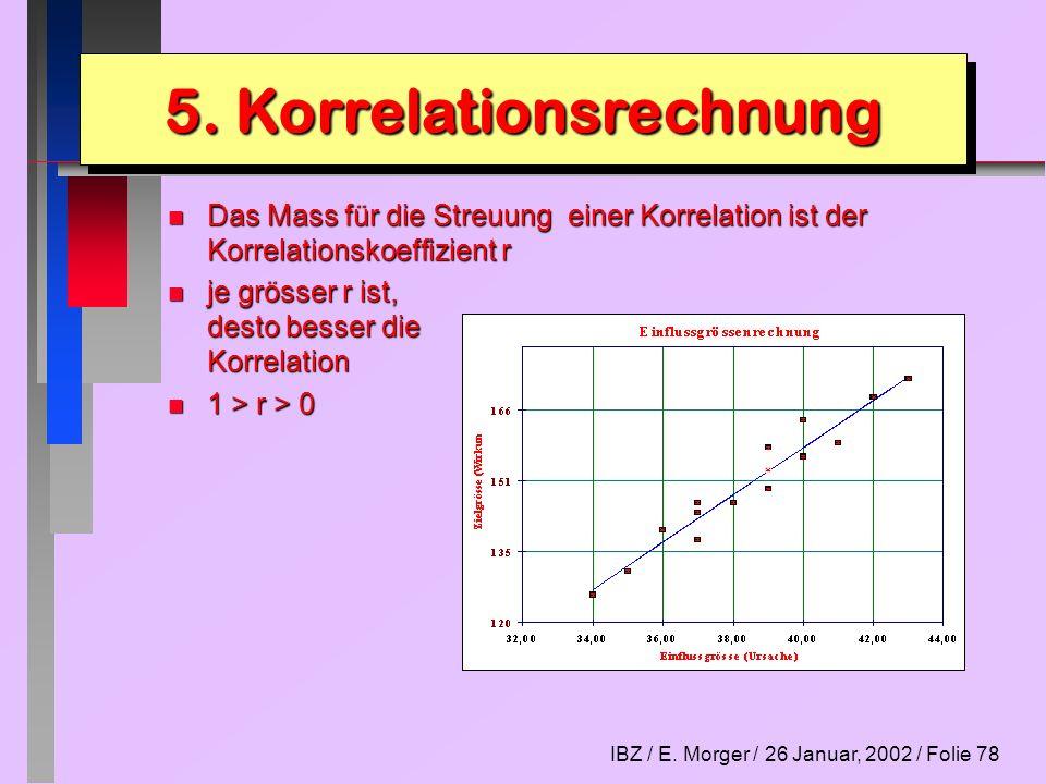 IBZ / E. Morger / 26 Januar, 2002 / Folie 78 n Das Mass für die Streuung einer Korrelation ist der Korrelationskoeffizient r n je grösser r ist, desto