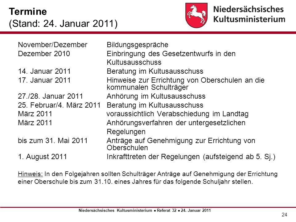24 November/DezemberBildungsgespräche Dezember 2010 Einbringung des Gesetzentwurfs in den Kultusausschuss 14. Januar 2011 Beratung im Kultusausschuss